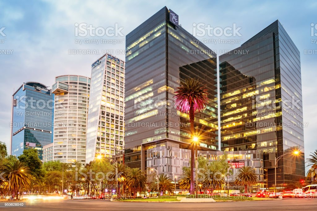 Financial district on Paseo de la Reforma in downtown Mexico City stock photo