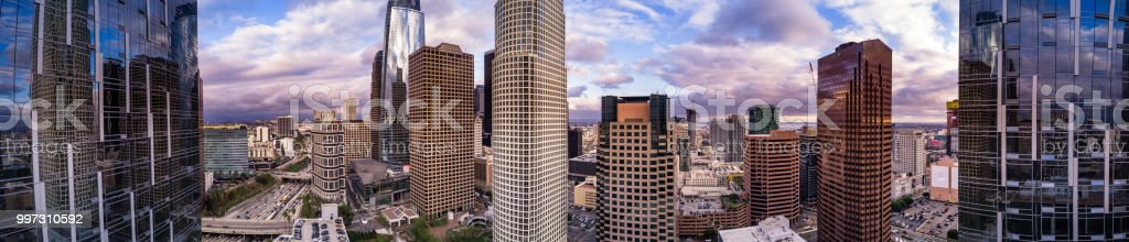 DTLA Financial District Skyscrapers - Aerial Panorama stock photo