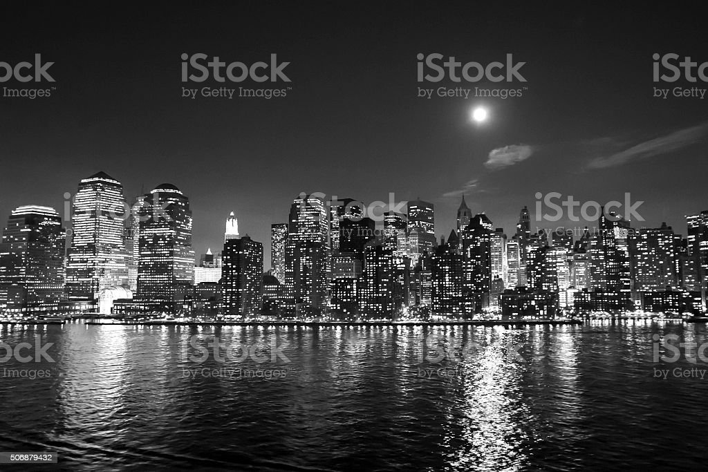Financial District skyscrapers bw stock photo