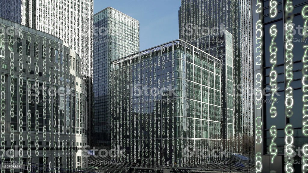 Financial district towers data matrix. stock photo