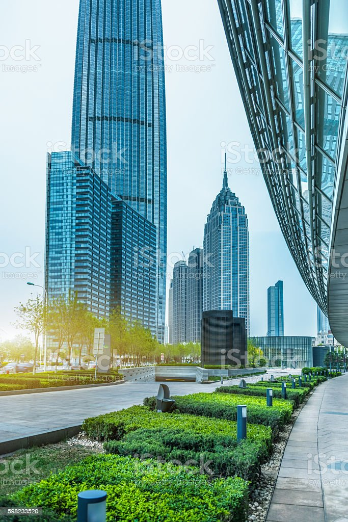 financial district with green foto royalty-free