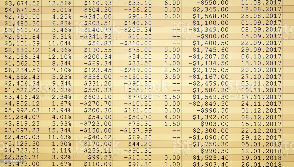 Hoja de cálculo financiera llano de figuras - foto de stock