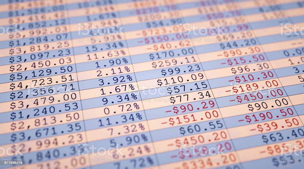Financial Figures Spreadsheet Simple stock photo