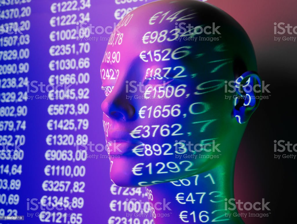 Financial Fingures on a Mannequin Face stock photo