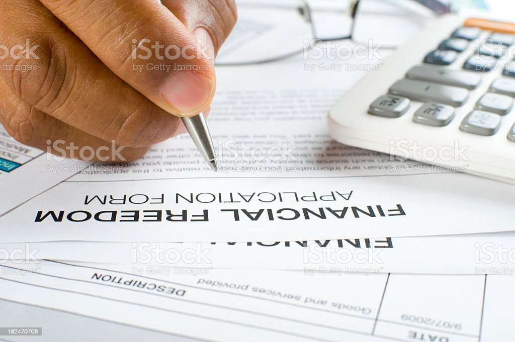Financial freedom concept with hand writing royalty-free stock photo