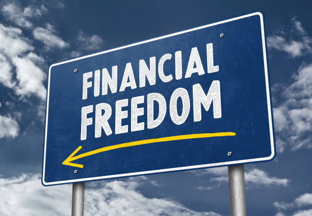 Financial Freedom - roadsign concept stock photo