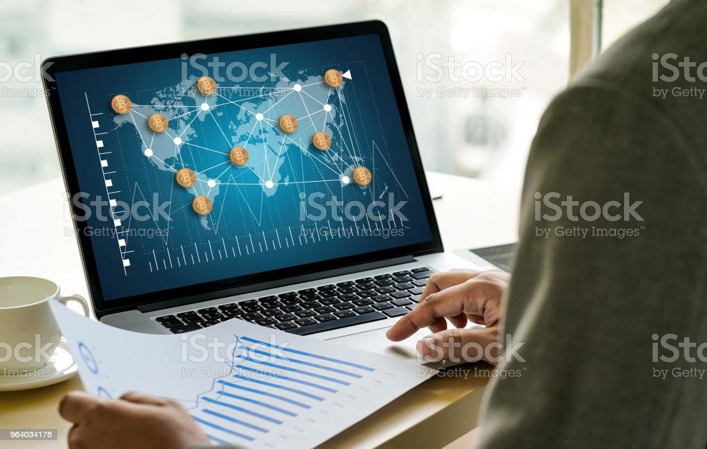 Financial golden Bitcoins ladder growth concept Crypto currency Bitcoins blockchain technology - Royalty-free Banking Stock Photo