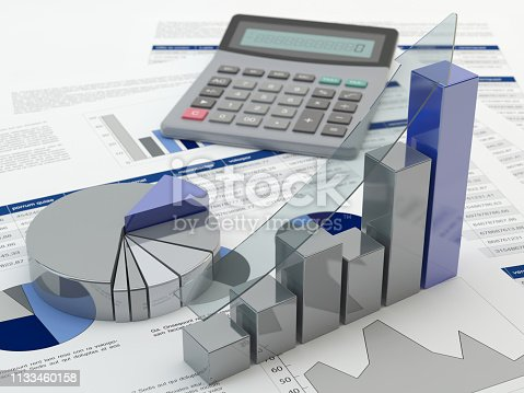 istock Financial graph, 3D illustration 1133460158