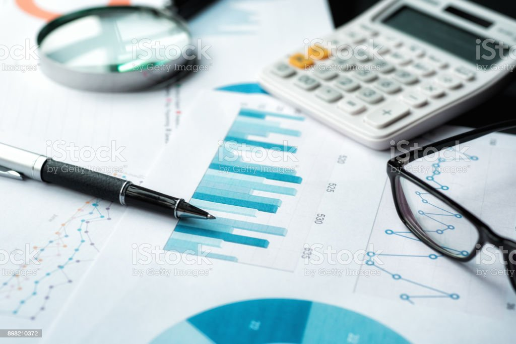 Financial graph analysis stock photo