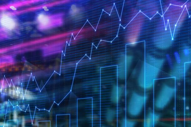 Finanzgrafik und Balkendiagramm-Hintergrund – Foto