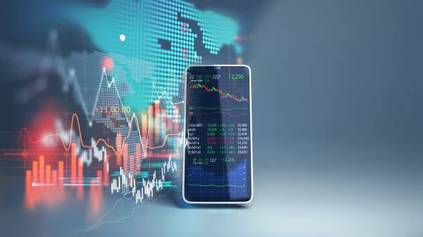financial graph and technology element on mobile phone 3d rendering stock photo