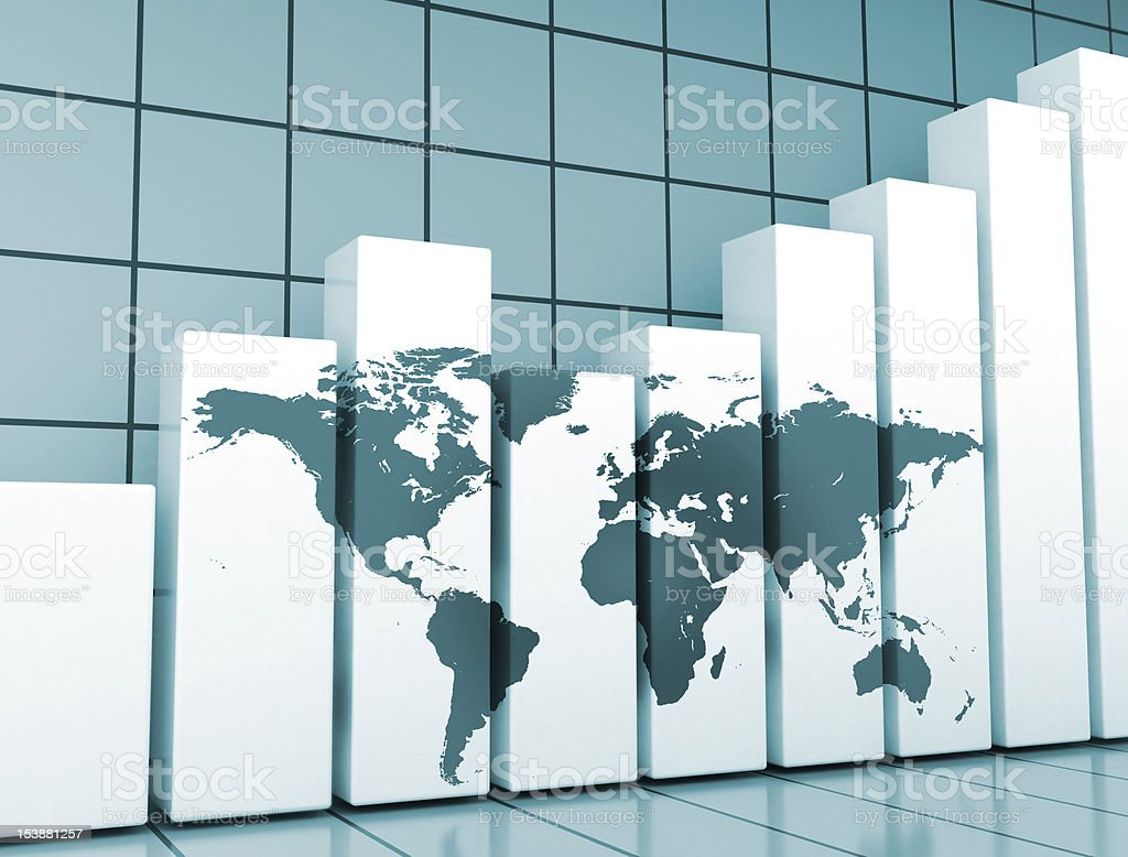 Financial graph and world map stock photo