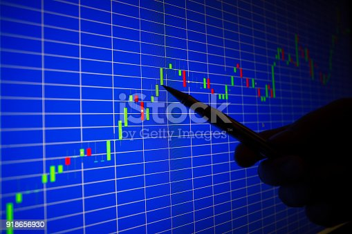 istock Financial graph on a computer monitor screen. Background stock chart. 918656930
