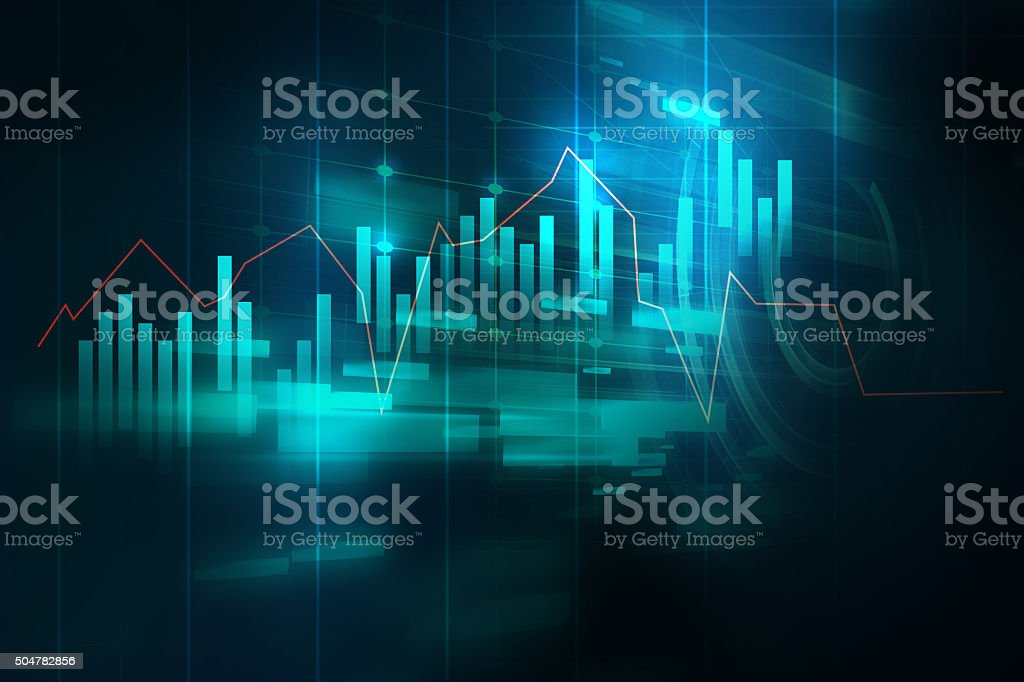 financial graph on technology abstract background bildbanksfoto