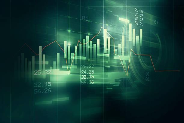 Grafico finanziario su sfondo astratto tecnologia - foto stock