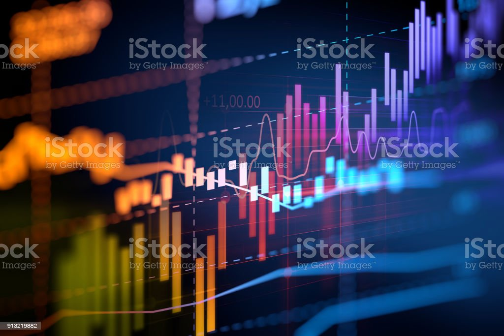 financial graph on technology abstract background royalty-free stock photo
