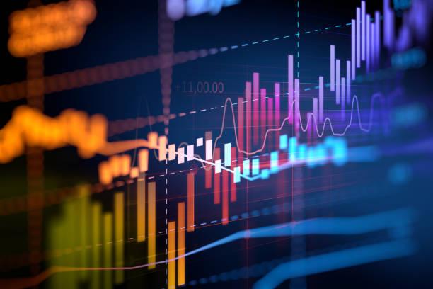 financiero gráfico a la tecnología de fondo abstracto - inversión fotografías e imágenes de stock