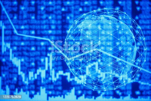 1064982786 istock photo Financial Graph with Globe 1220752829
