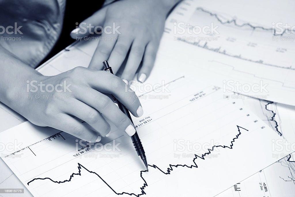 Financial graphs analysis royalty-free stock photo