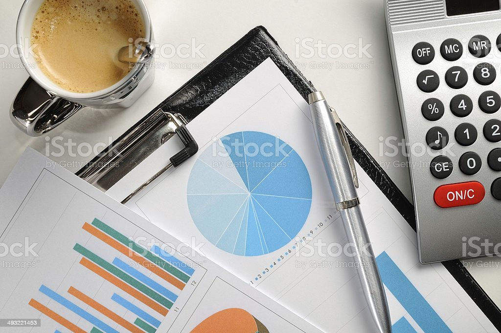 Financial graphs analysis top view stock photo