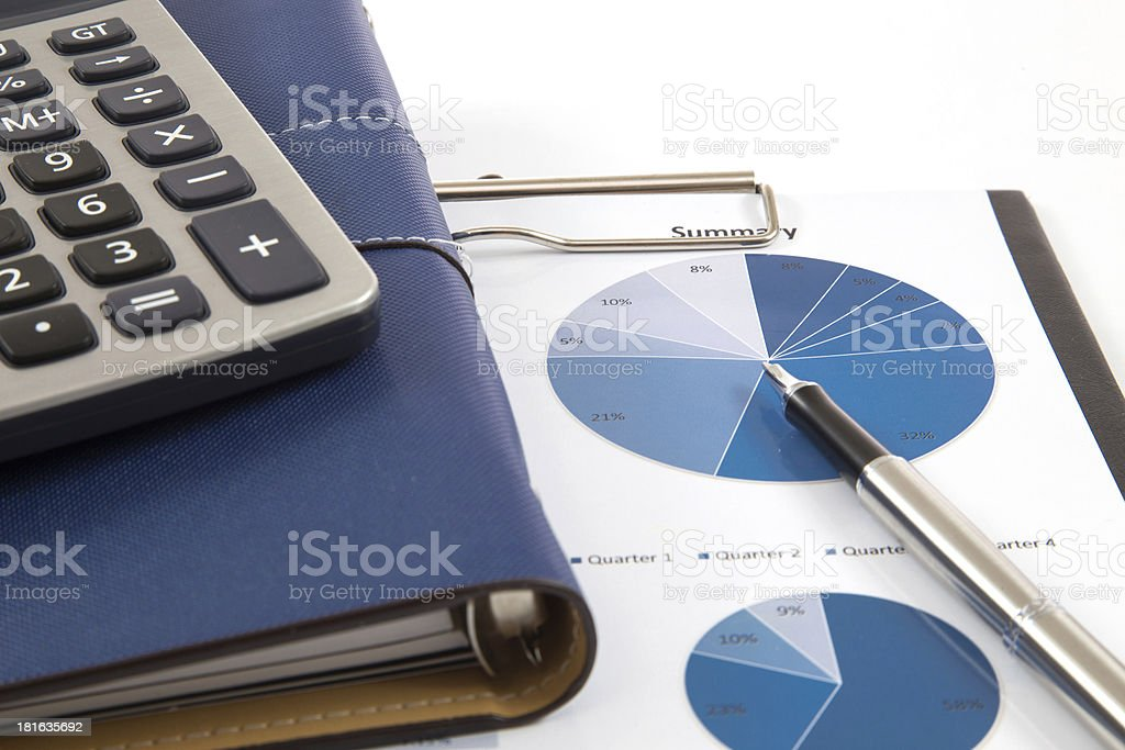 Financial graphs and charts accounting royalty-free stock photo
