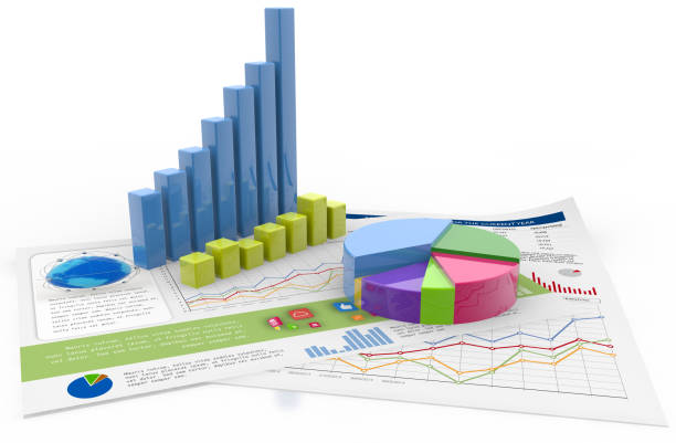 financial graphs and charts isolated on white - graph stock photos and pictures