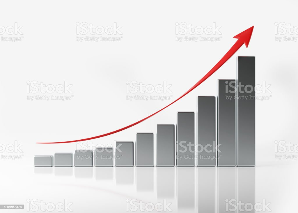 Financial Growth Bar On White Reflective Surface stock photo