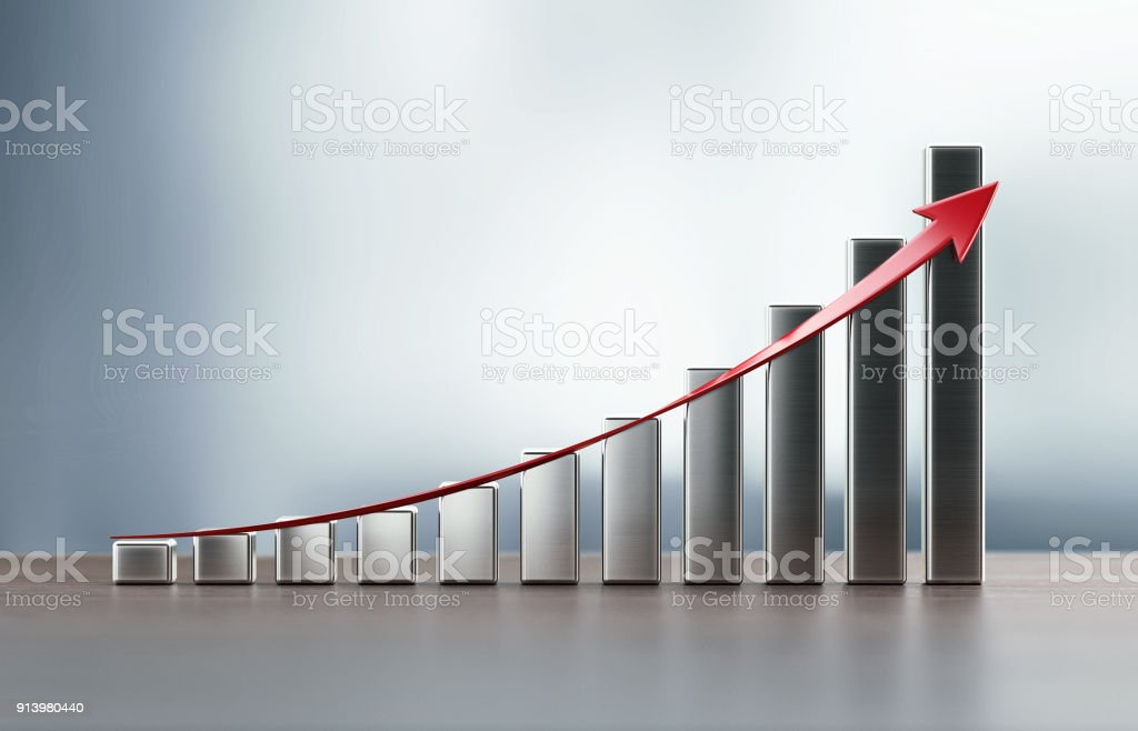 Financial Growth Bar On Wood Surface Against Defocused Background stock photo