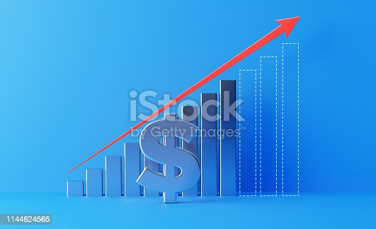 904389218istockphoto Financial Growth Bar With A Red Arrow Shape And American Dollar Sign Moving Up Over Blue Background 1144624565