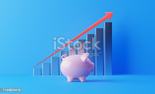 904389218istockphoto Financial Growth Bar With A Red Arrow Shape And Piggy Bank Moving Up Over Blue Background 1144624415