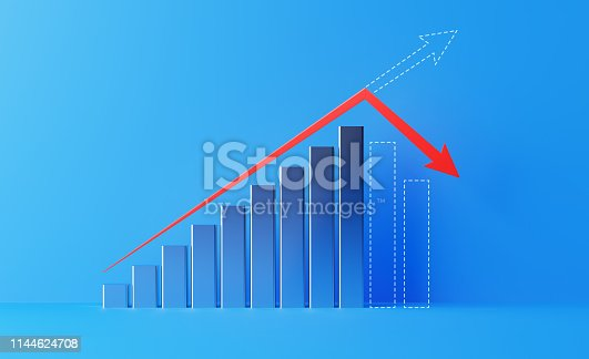 904389218istockphoto Financial Growth Bar With A Red Arrow Shape Moving Down Over Blue Background 1144624708
