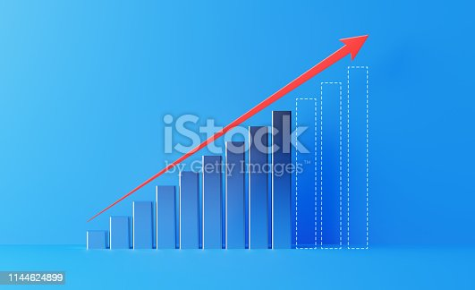 904389218istockphoto Financial Growth Bar With A Red Arrow Shape Moving Up Over Blue Background 1144624899