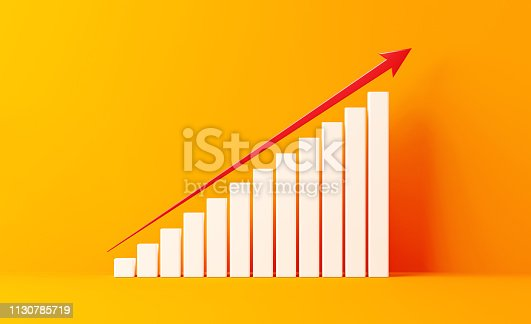 White financial growth bar and a red arrow shape moving up on yellow background. Growth concept. Horizontal composition with copy space.