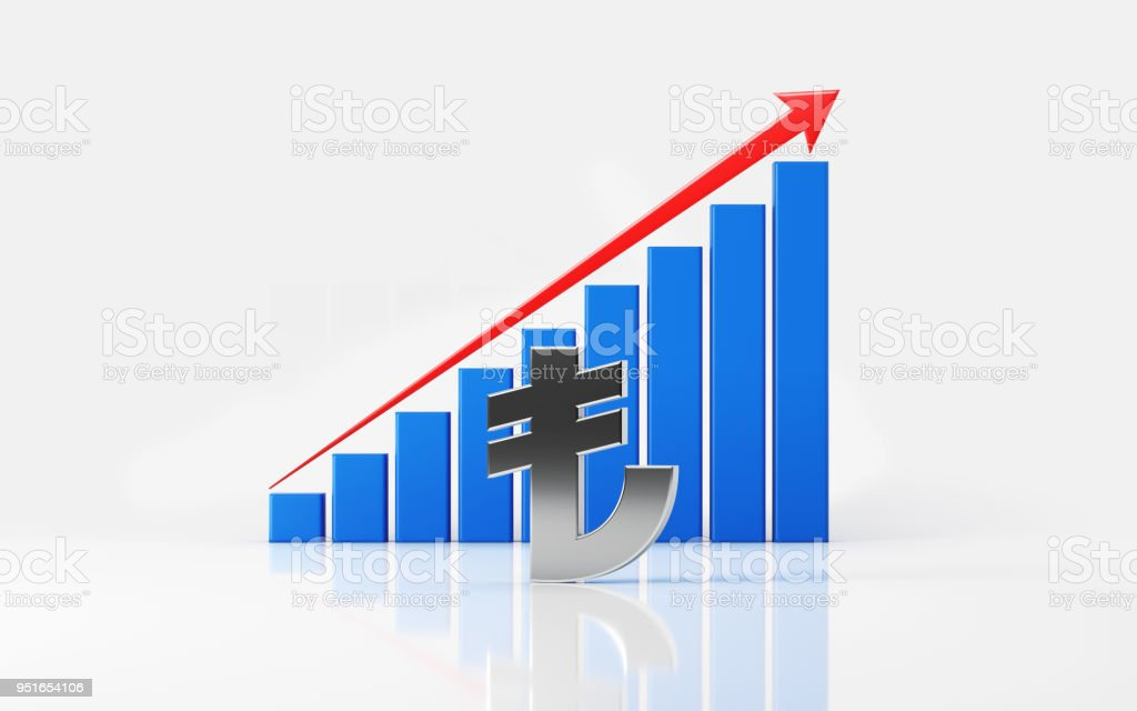 Financial Growth Bar With Turkish Lira Symbol On White Reflective