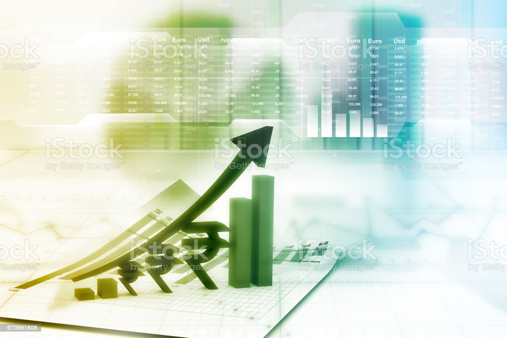Financial growth chart stock photo