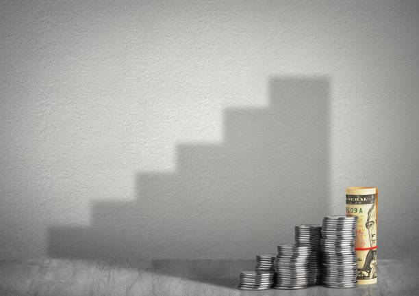 financial growth concept, money with shadow stock photo