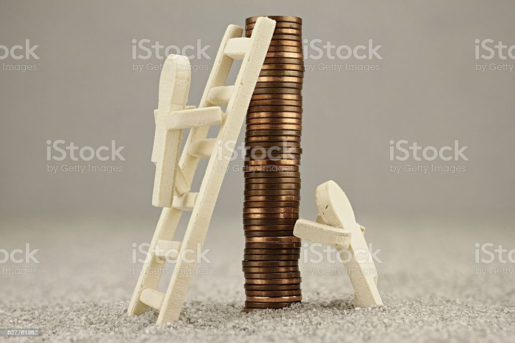 Financial growth ladder stock photo