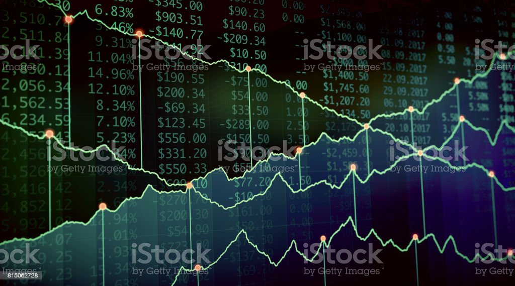 Financial Growth Report Green stock photo