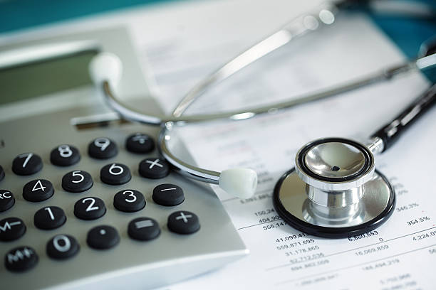 Financial health check or cost of healthcare stock photo