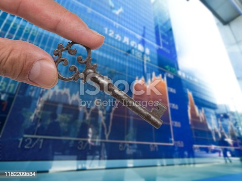 Financial image. Stock price and key.
