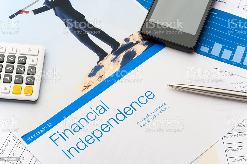 Financial independence brochure stock photo