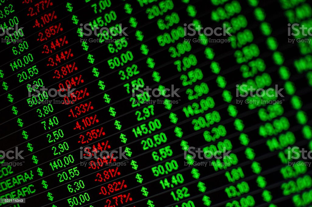 Financial information on a computer screen stock photo