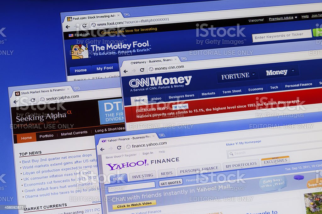 Financial  information web sites on computer monitor. stock photo