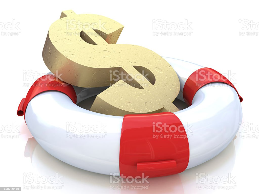 Financial insurance concept: golden dollar symbol in lifebelt stock photo