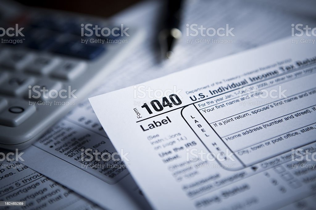 Financial IRS tax forms stock photo