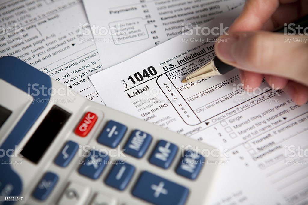 Financial IRS tax forms royalty-free stock photo