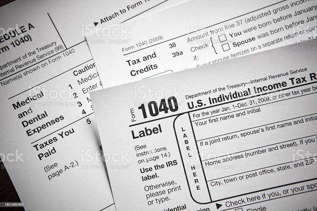 Financial IRS tax return forms royalty-free stock photo