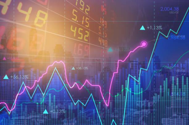 financial line chart react and diagrams. - double exposure стоковые фото и изображения
