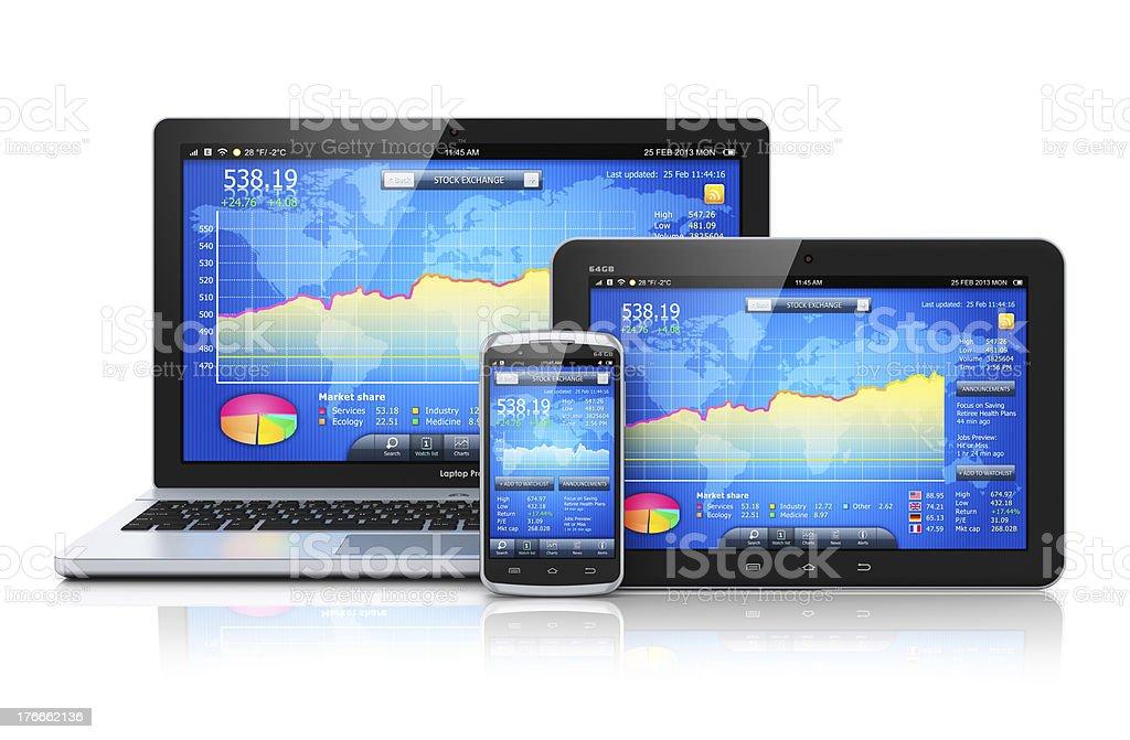 Gestión financiera en los dispositivos móviles foto de stock libre de derechos