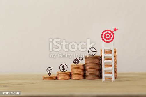 Financial management/goals asset investment concept: Arrange business plan icon on rows of rising coins, Demonstrating excellent performance through arranging a portfolio for maximum profit.